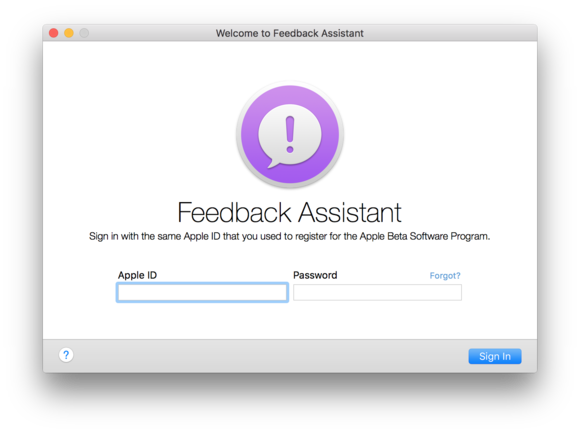feedback assistant mac login