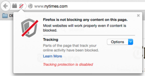 firefox tracking protection disabled