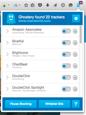 ghostery shows tracking elements on sites