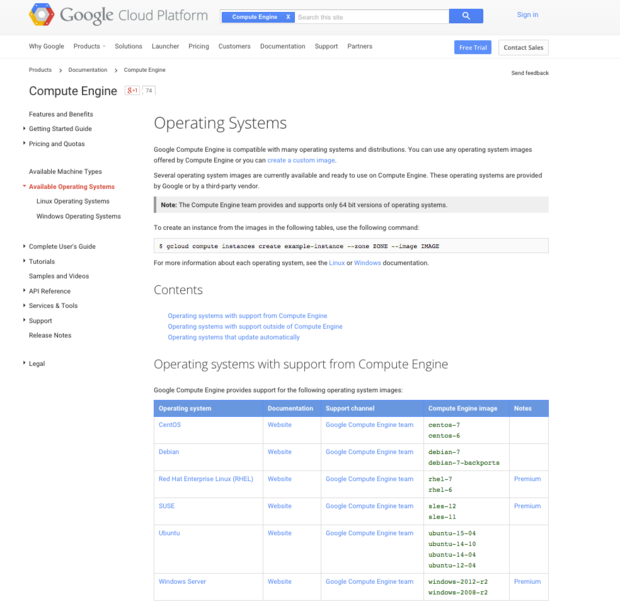 google cloud platform oses
