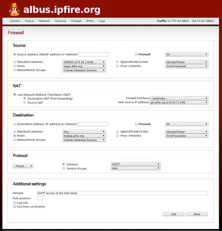IPFire Web-based configuration interface