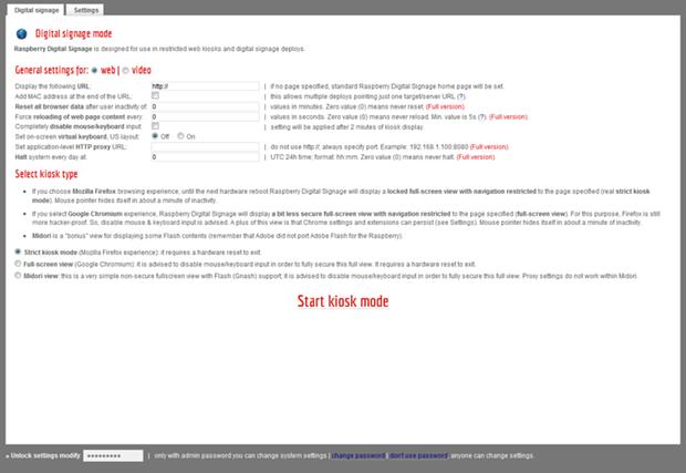 Raspberry Digital Signage management interface