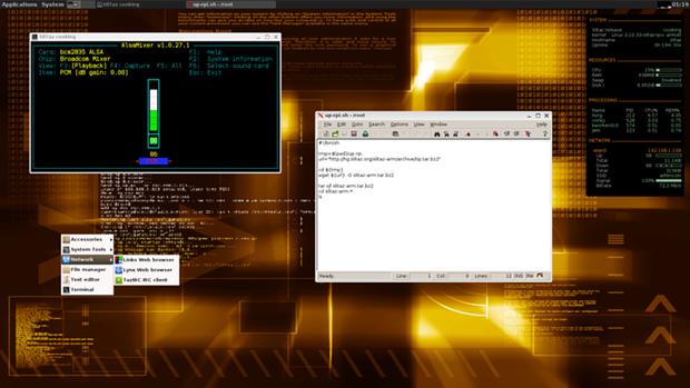 The SliTaz GNU/Linux Raspberry Pi distro with the JWM window manger