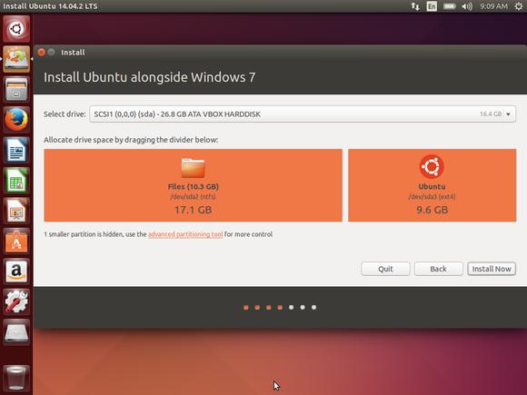 install ubuntu alongside windows partition sizes