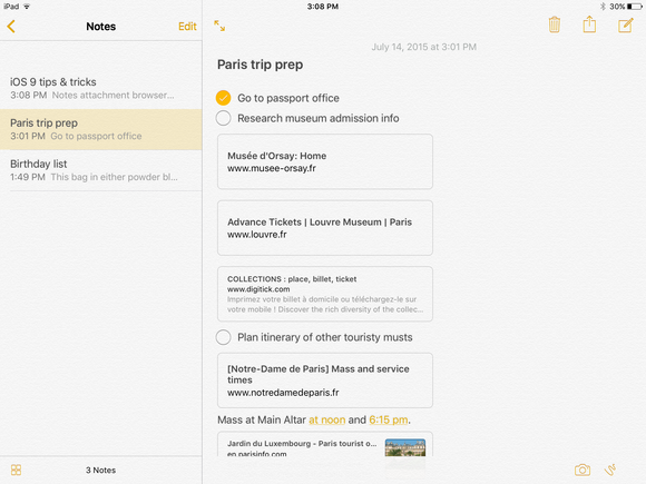 ios 9 notes share