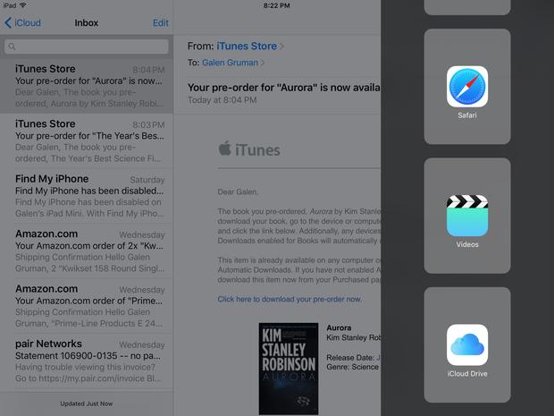 iOS 9 iPad split screen apps menu