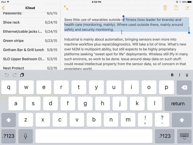 iOS 9 iPad virtual trackpad