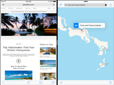 iOS 9 split screen view for the iPad Air 2
