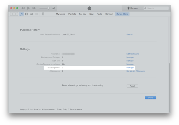 itunes 12 acct subscriptions
