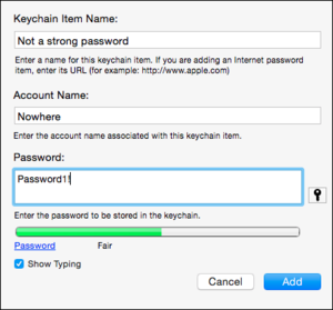 keychain set green password