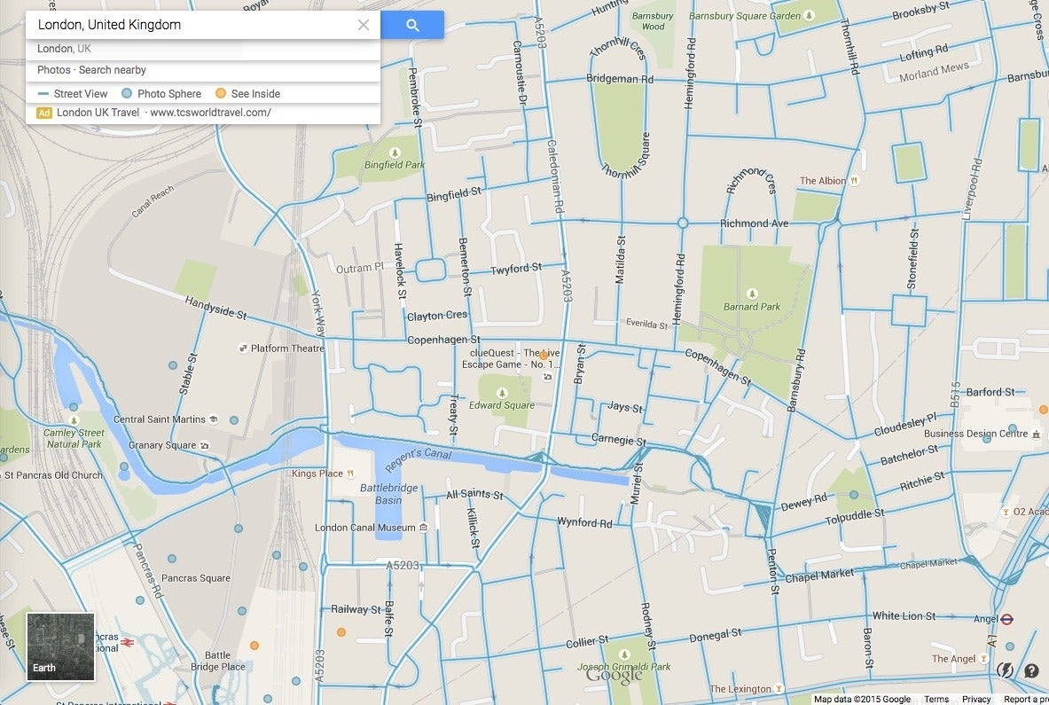 london street view gaps