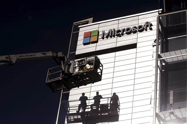 Photo of Microsoft logo on former Nokia headquarters
