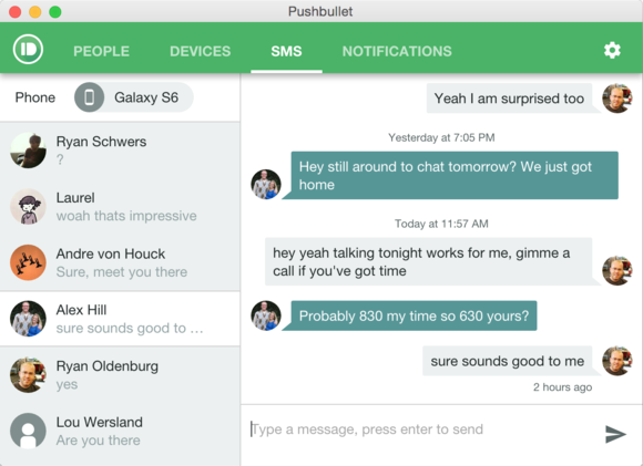 pushbullet sms