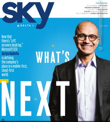 satya nadella sky magazine cover microsoft