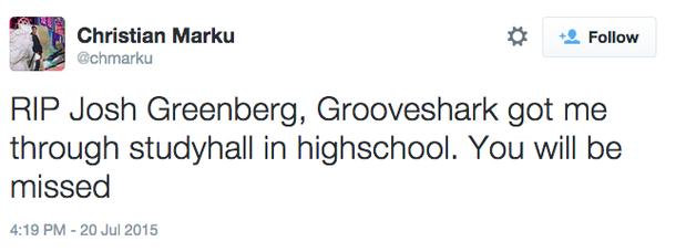 josh greenberg grooveshark tribute twitter