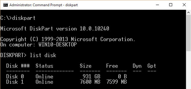 Using diskparts list disk command to find the drive number