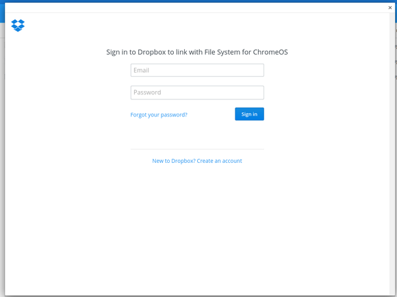 sign in to dropbox chrome