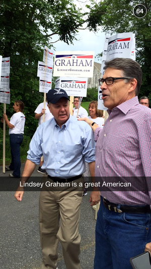 snapchat presidential election rick perry lindsey graham