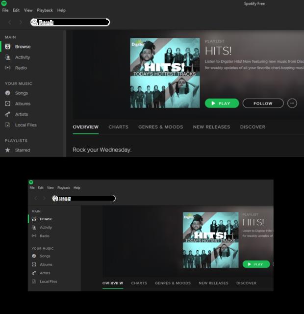 Spotify running under Windows 10
