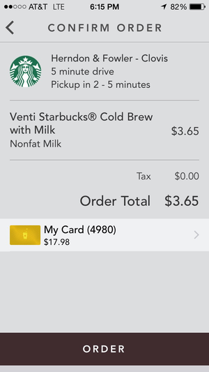starbucks confirm order