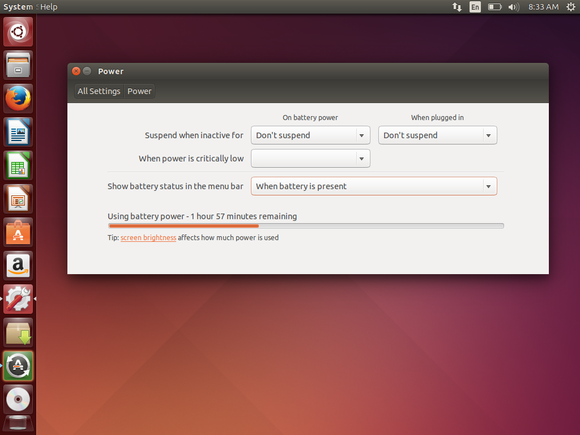 ubuntu power settings