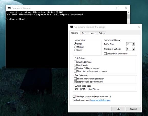 windows 10 command prompt options