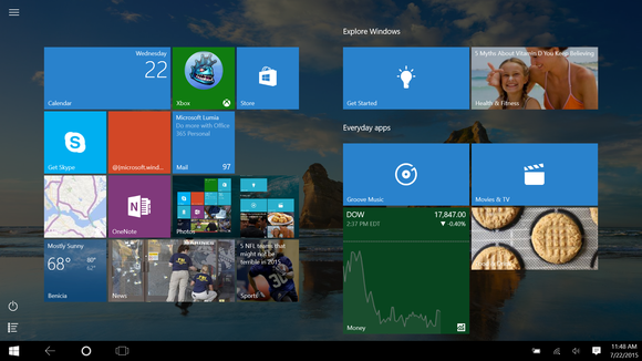 windows 10 continuum start menu