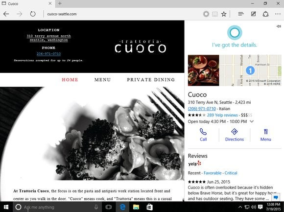 windows 10 cortana edge browser