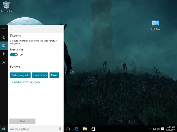 windows 10 cortana events