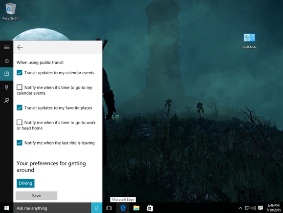 windows 10 cortana getting around settings