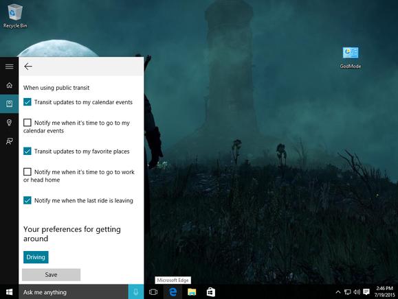 windows 10 cortana getting around settings