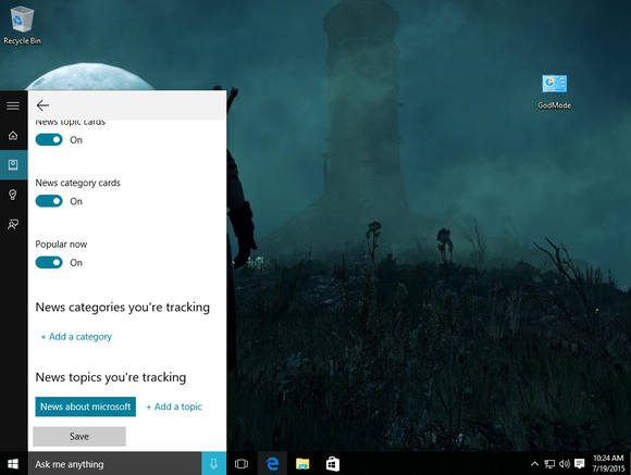 windows 10 cortana news topics