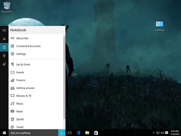 windows 10 cortana notebook