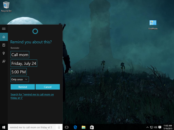 windows 10 cortana reminders