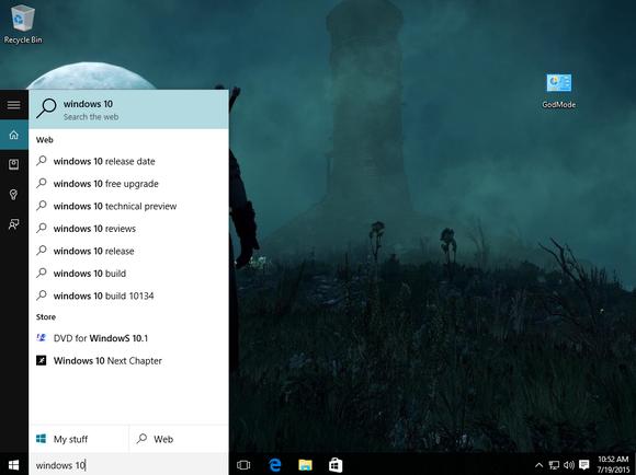 windows 10 cortana search