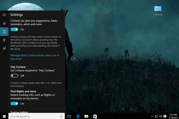 How to control cortana windows hello and other windows 10 features