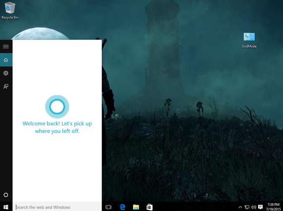 windows 10 cortana welcome back