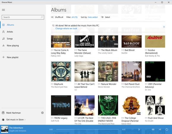 windows 10 groove music album screen