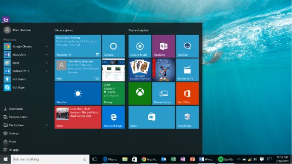 windows 10 hands on start menu