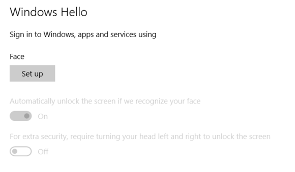 windows 10 hello settings