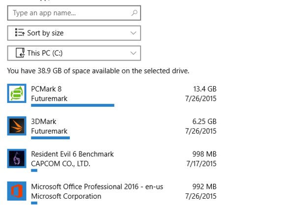 windows 10 hidden largest apps