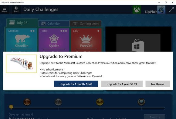 windows 10 hidden solitaire fees
