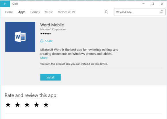windows 10 into office mobile