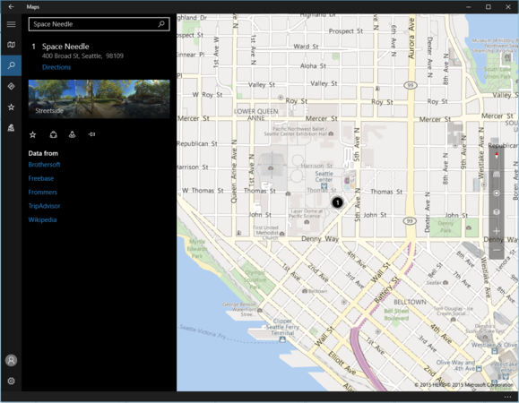 windows 10 maps space needle