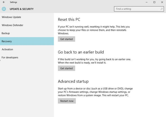 windows 10 refresh reset