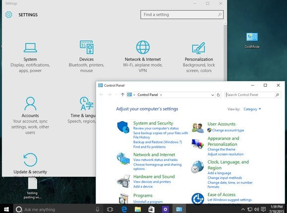windows 10 settings vs control panel