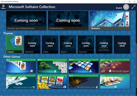 windows 10 solitaire and other games