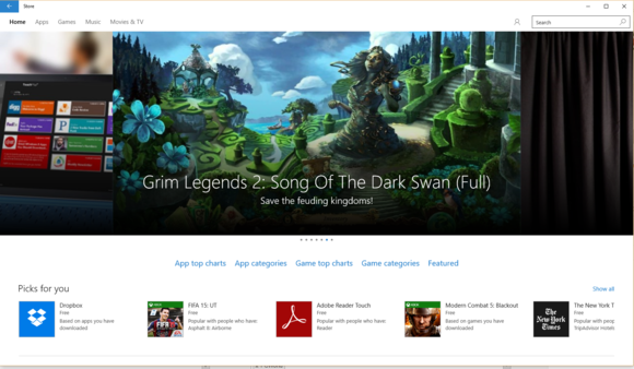 windows 10 store front page