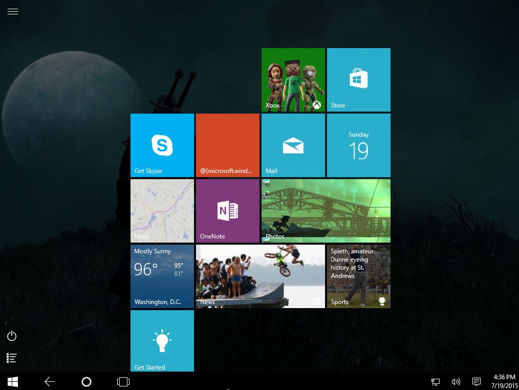 windows 10 startup screen