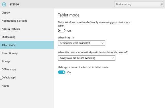 windows 10 tablet mode settings